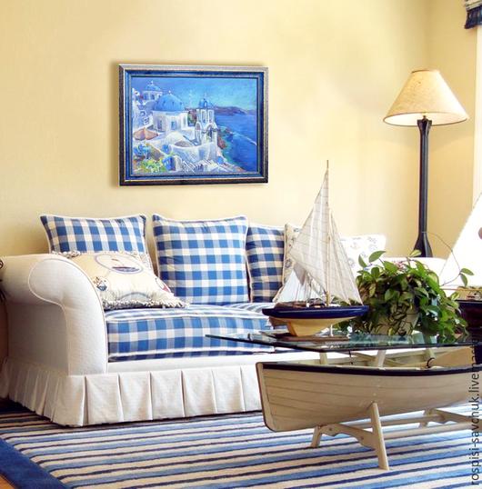 Пейзаж ручной работы. Ярмарка Мастеров - ручная работа. Купить Картина пастелью Голубые купола Санторини Греция - острова мечты. Handmade.