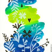 """Картины и панно ручной работы. Ярмарка Мастеров - ручная работа """"Луговые травы"""", 4 акварели.. Handmade."""