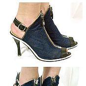 Обувь ручной работы. Ярмарка Мастеров - ручная работа Женские джинсовые босоножки. Handmade.