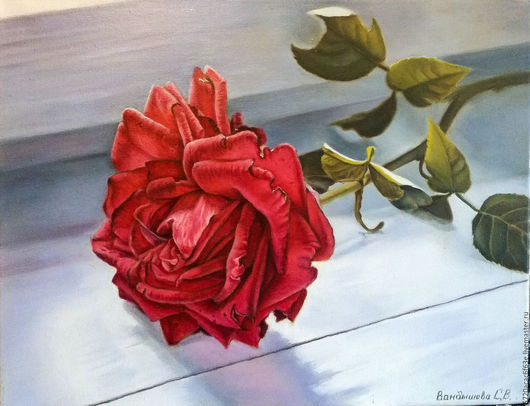 """Картины цветов ручной работы. Ярмарка Мастеров - ручная работа. Купить """"Роза на подоконнике."""" Холст. Масло. 40х50.. Handmade."""