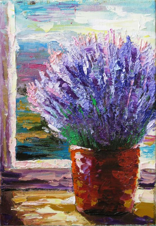 Картины цветов ручной работы. Ярмарка Мастеров - ручная работа. Купить Букет лаванды на фоне Прованса картина маслом на холсте. Handmade.