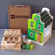 Для дома и интерьера ручной работы. Ярмарка Мастеров - ручная работа Кормушка для птиц EUROPE-GREEN (набор-конструктор с красками). Handmade.