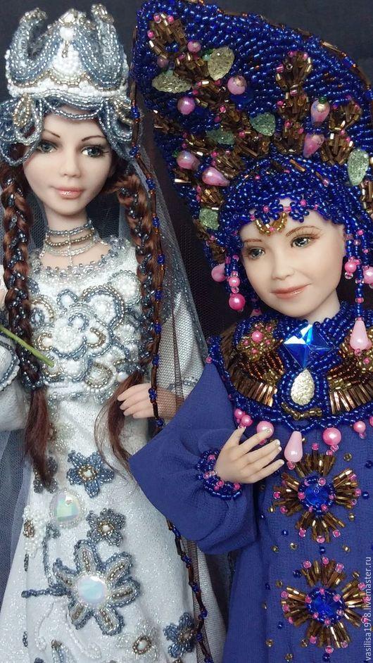 Коллекционные куклы ручной работы. Ярмарка Мастеров - ручная работа. Купить Томирис и Василиса - биссерная вышивка. Handmade. Комбинированный