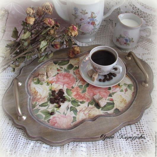 """Кухня ручной работы. Ярмарка Мастеров - ручная работа. Купить Поднос """"Тенистый сад"""". Handmade. Комбинированный, розы, салфетки декупажные"""