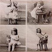 Салфетки для декупажа ручной работы. Ярмарка Мастеров - ручная работа Салфетка для декупажа 33х33 Винтажная дети. Handmade.