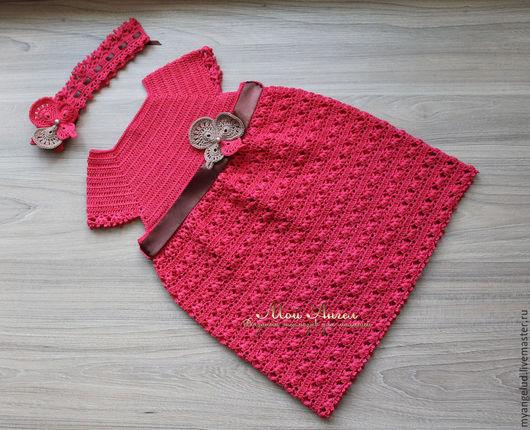 """Одежда для девочек, ручной работы. Ярмарка Мастеров - ручная работа. Купить Ажурный комплект для девочки """"Милена"""". Handmade. Коралловый"""