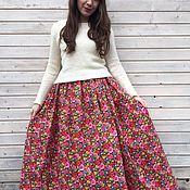 """Одежда handmade. Livemaster - original item Cotton skirt """"Pink Flowers"""". Handmade."""