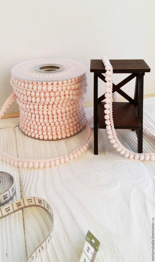 Куклы и игрушки ручной работы. Ярмарка Мастеров - ручная работа. Купить Тесьма с мини помпончиками (светло-розовый кремовый) пр-во Испания. Handmade.