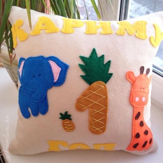 """Детская ручной работы. Ярмарка Мастеров - ручная работа. Купить Подушка """"Африканские мотивы"""". Handmade. Подушка из флиса, подушка"""