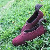 """Обувь ручной работы. Ярмарка Мастеров - ручная работа Валяные тапочки """"Вишня"""". Handmade."""
