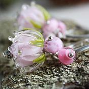 """Украшения ручной работы. Ярмарка Мастеров - ручная работа Комплект лэмпворк """"Ангельски розовый"""" бусины лампворк. Handmade."""