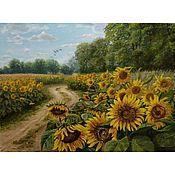 """Картины и панно handmade. Livemaster - original item Oil painting """"Sunny Field """",landscape. Handmade."""