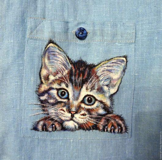 """Платья ручной работы. Ярмарка Мастеров - ручная работа. Купить Платье-рубашка с котиком """"Всегда рядом"""". Handmade. Голубой, котик"""