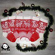 Носки ручной работы. Ярмарка Мастеров - ручная работа Носки с новогодними узорами. Handmade.