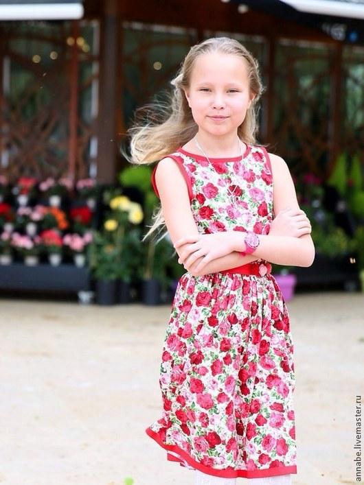 Одежда для девочек, ручной работы. Ярмарка Мастеров - ручная работа. Купить Платье Roses Хлопок 100 %. Handmade.