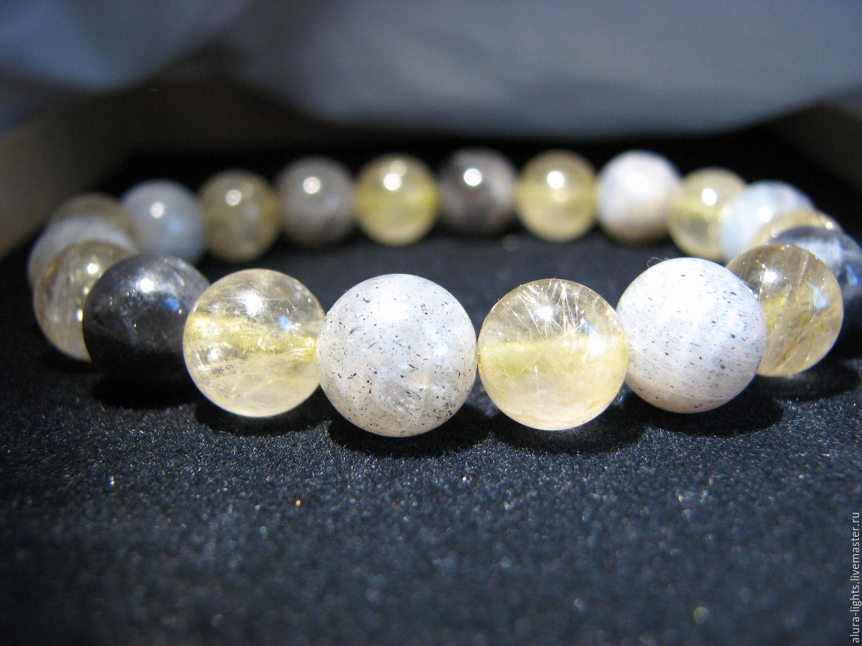Bracelet with labradorite and rutilated quartz, Bead bracelet, Moscow,  Фото №1