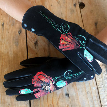 "Accessories handmade. Livemaster - original item Black women leather gloves.Unique design ""Red poppies"" Size 6.5. Handmade."