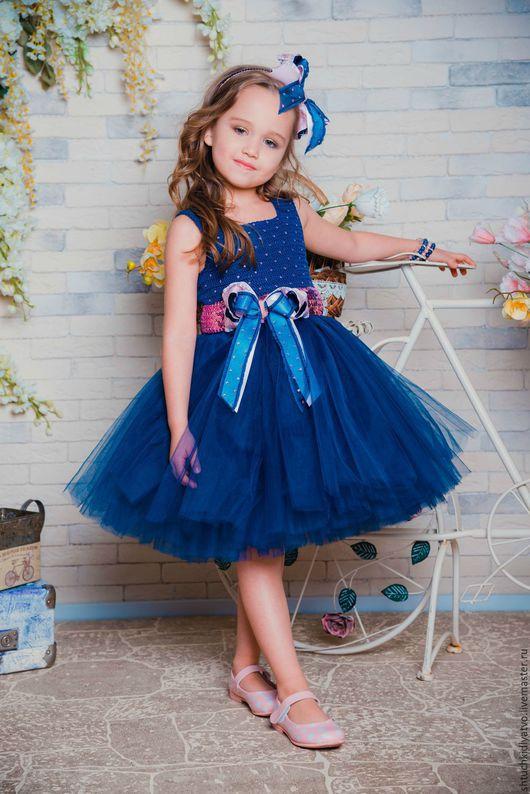 Одежда для девочек, ручной работы. Ярмарка Мастеров - ручная работа. Купить Авторское пышное платье синее с розовым. Handmade. Синий