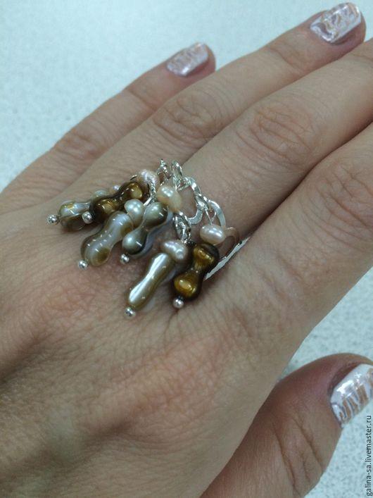 Кольца ручной работы. Ярмарка Мастеров - ручная работа. Купить Перламутровое кольцо Утро. Handmade. Бежевый, жемчуг белый, выпускной
