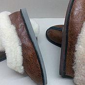 Обувь ручной работы. Ярмарка Мастеров - ручная работа Тапочки меховые на клиновой подошве. Handmade.