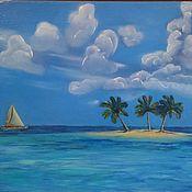 Картины и панно handmade. Livemaster - original item Island with palm trees. Handmade.