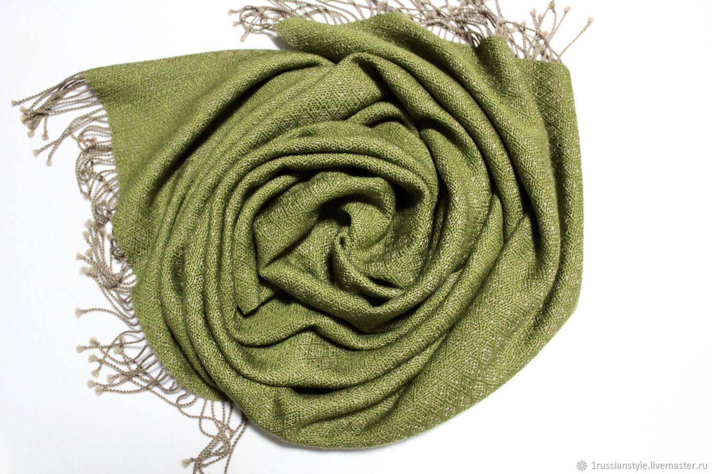 Woven patterned scarf. Cashmere-silk, Scarves, Aprelevka,  Фото №1
