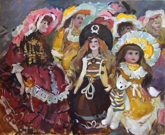 Картина маслом с винтажными куклами. На картине изображены винтажные куклы в шляпах и в английских и французских нарядах 18 - 19 веков