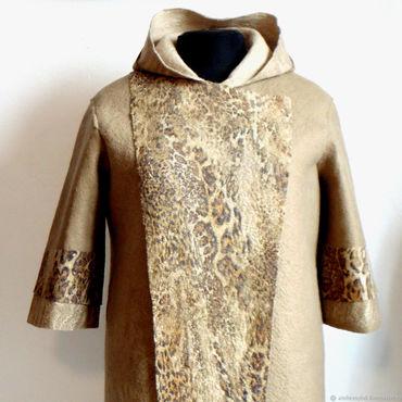 Одежда ручной работы. Ярмарка Мастеров - ручная работа Пальто с леопардовым принтом, 56 размер. Handmade.