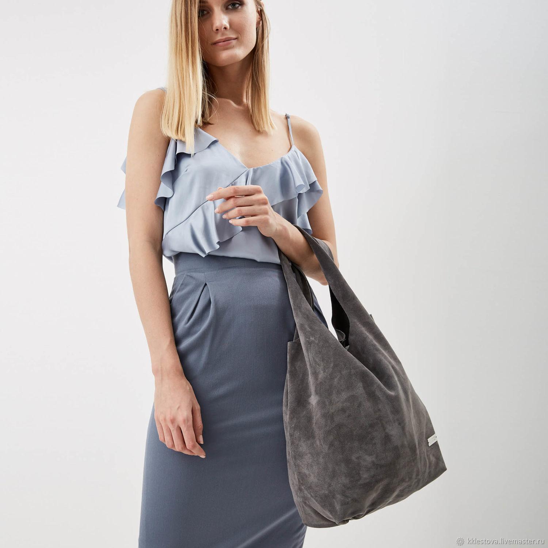 Gray suede Bag Bag medium Package string Bag shopper t shirt Bag, String bag, Moscow,  Фото №1
