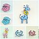 Носочки розовые и голубые  Размер - 3,5 х 3,3 см  Жираф розовый и голубой Размер - 2,8 х 4,9 см  Слюнявчик розовый и голубой Размер - 3,5 х 2,7 см  Цена 1 шт. - 11р.