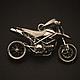 Кулон ручной работы из серебра 925, масштабная копия 1:164 легендарного внедорожного мотоцикла Ducati HYPM. Размеры: 32Х21Х12мм. Вес:12,5гр. Цена: 4000руб.