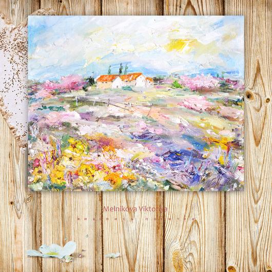 Картина `Солнечный пейзаж с цветами` (серия Вива Италия!) 50/40 см холст на подрамнике