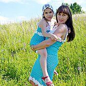 Одежда ручной работы. Ярмарка Мастеров - ручная работа Комплект дочки-мамы В летних облаках. Handmade.