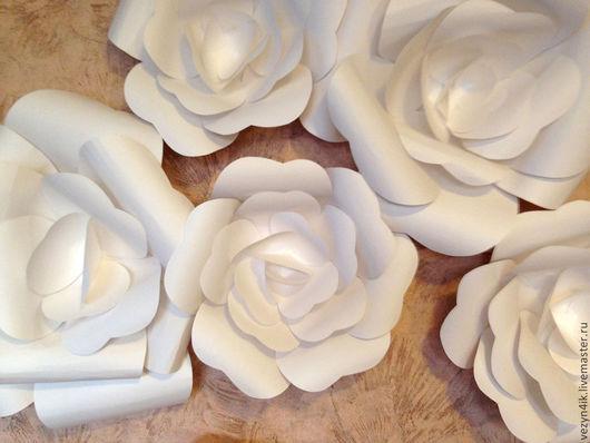 Свадебные цветы ручной работы. Ярмарка Мастеров - ручная работа. Купить Бумажные розы для задника или арки. Handmade. Белый