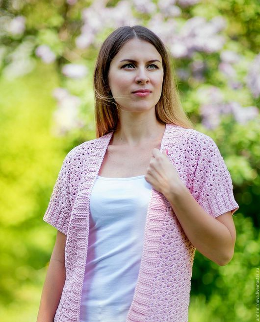 Пиджаки, жакеты ручной работы. Ярмарка Мастеров - ручная работа. Купить Кардиган женский вязаный крючком нежно-розовый. Handmade.