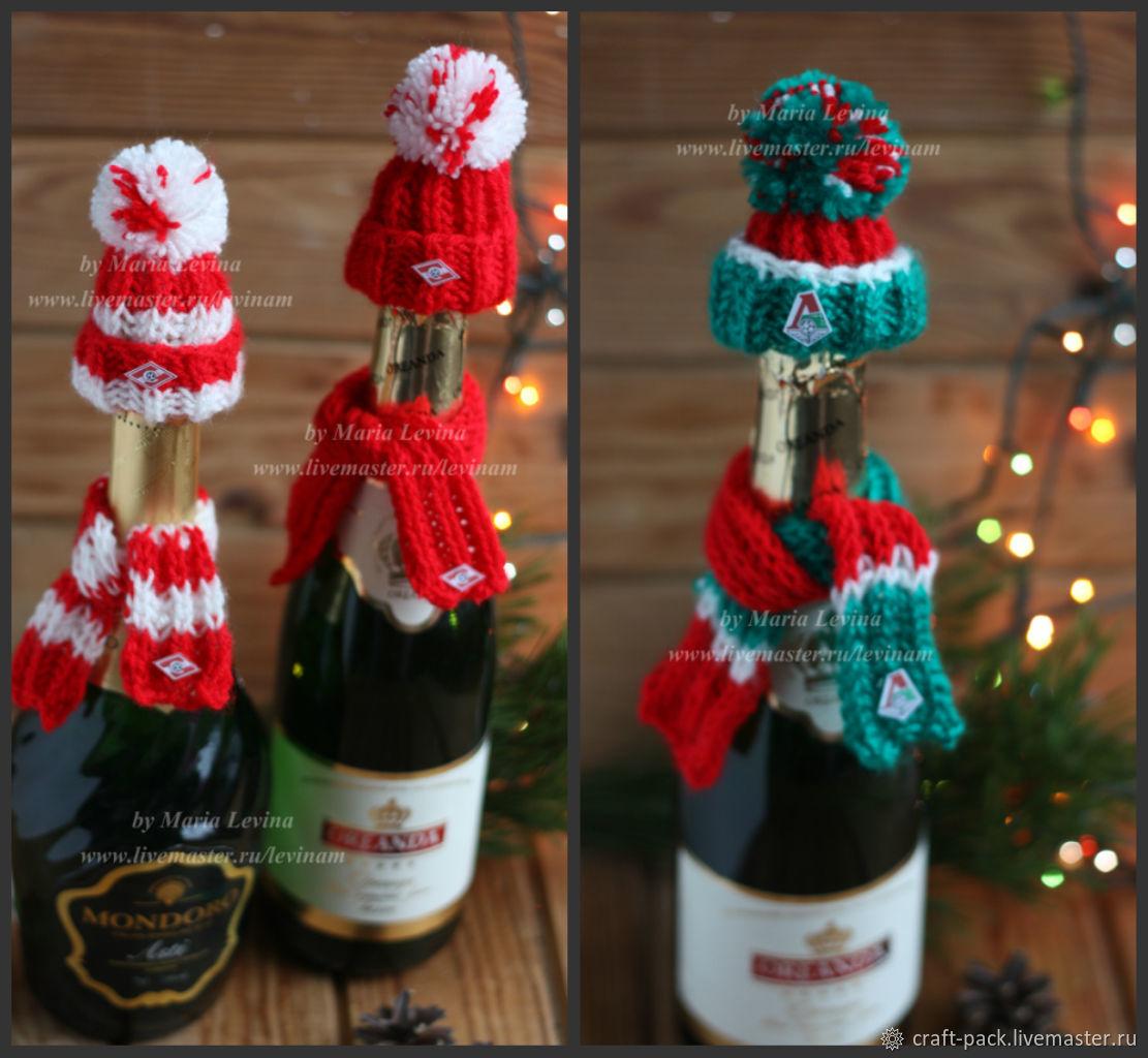 Шапка и шарф на бутылку подарок новогодний, одежда на бутылку купить, Чехлы для посуды, Москва,  Фото №1