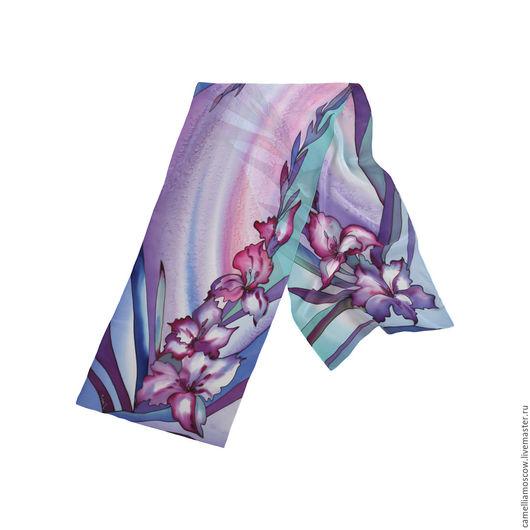 Шарфы и шарфики ручной работы. Ярмарка Мастеров - ручная работа. Купить Батик Шелковый шарф Гладиолусы 175х36 см. Handmade.
