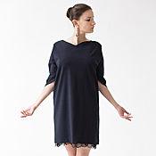 Одежда ручной работы. Ярмарка Мастеров - ручная работа Платье темно-синее с архитектурным рукавом. Handmade.