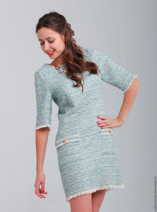 Платья ручной работы. Ярмарка Мастеров - ручная работа. Купить Платье из хлопкового твида. Handmade. Мятный, нарядное платье