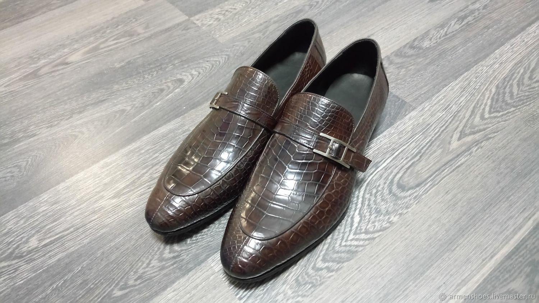 Monki men's crocodile leather, dark brown custom!, Loafers, Tosno,  Фото №1