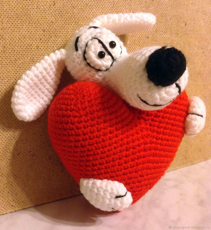 Сердечный Пёсик вязаный, Подарки на 14 февраля, Москва,  Фото №1