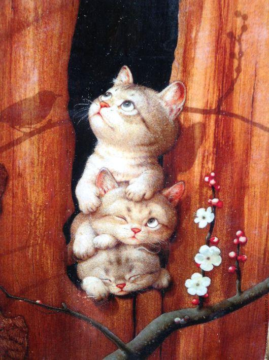 Животные ручной работы. Ярмарка Мастеров - ручная работа. Купить Чудные котики.. Handmade. Кот, кошка, картина в подарок, котик