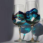 """Посуда ручной работы. Ярмарка Мастеров - ручная работа Набор бокалов для вина """"Эгейское море"""". Handmade."""