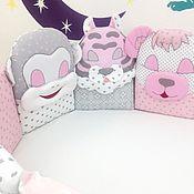 Грызунки ручной работы. Ярмарка Мастеров - ручная работа Серо-розовый комплект.Развивающие бортики - подушки в кроватку. Handmade.