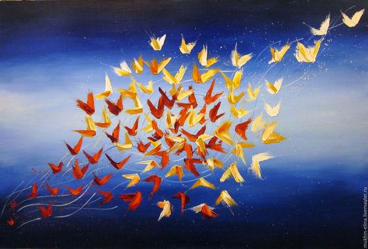 Символизм ручной работы. Ярмарка Мастеров - ручная работа. Купить Перерождение. Handmade. Синий, красный, птицы, символизм, абстрактная картина