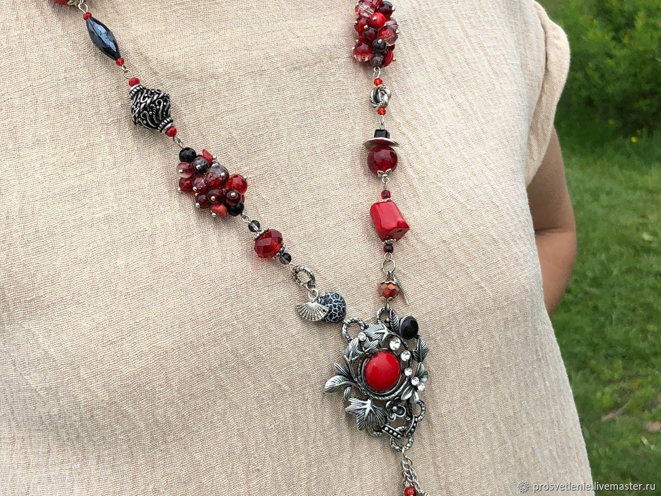 Long necklace made of natural stones. Boho jewelry. Necklace beads, Necklace, Voronezh,  Фото №1