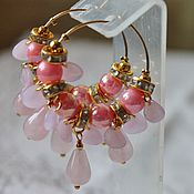 Украшения handmade. Livemaster - original item Earrings with rose quartz, gold plated beads Rose garden. Handmade.