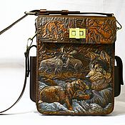 """Сумки и аксессуары handmade. Livemaster - original item Author`s bag with embossed """"HUNT"""". Handmade."""