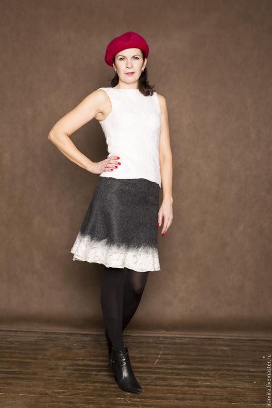 Юбки ручной работы. Ярмарка Мастеров - ручная работа. Купить Валяная юбка. Handmade. Темно-серый, юбка на подкладе