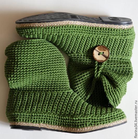Обувь ручной работы. Ярмарка Мастеров - ручная работа. Купить Сапожки уличные зеленые, хлопок, Бохо, р.39. Handmade.